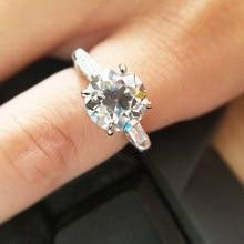 OEC-anillo de compromiso de moissanita de corte brillante para mujer, oro blanco de 14k, impresionante Test Positive EF Color VVS1, 6,5 CT, mm