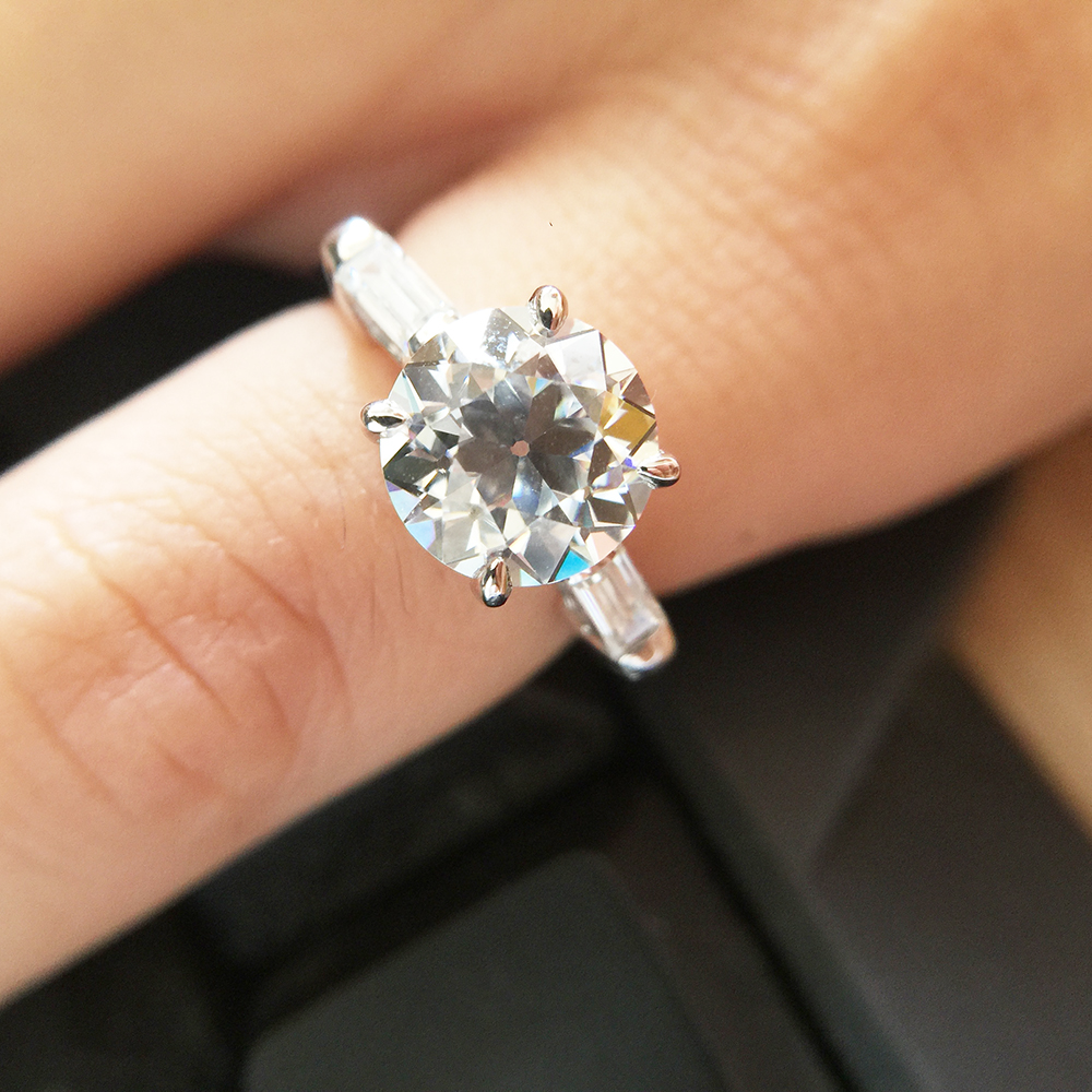 OEC Brilliant Cut Moissanite Engagement Wedding Ring 14k White Gold Stunning Test Postive EF Color VVS1 For Women 1.0ct 6.5mm