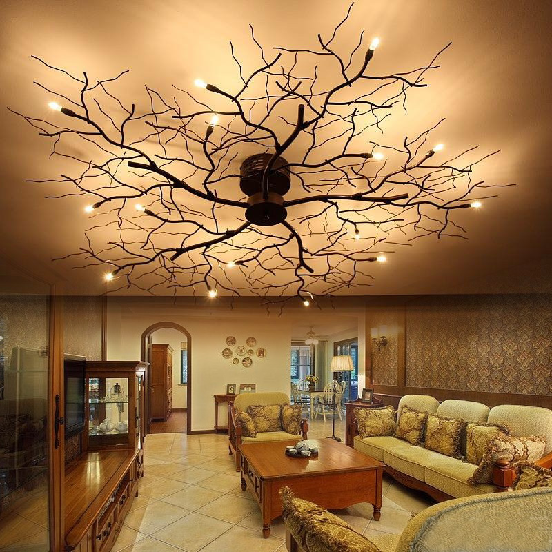 цена на American 9/15 LED ceiling lamp bedroom wrought iron Nordic led branch mounted luminaire dining room ceiling lights lamp ZA8186