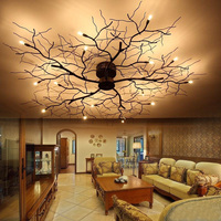American 9/15 LED ceiling lamp bedroom wrought iron Nordic led branch mounted luminaire dining room ceiling lights lamp ZA8186