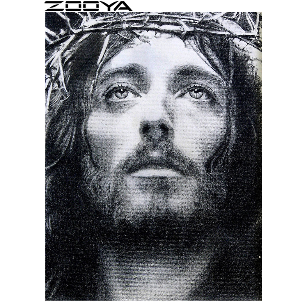 ZOOYA Diamond Embroidery 5D DIY Diamond Painting Full Dill Round Diamond Mosaic Picture Portrait Religious Jesus Christ RF1201