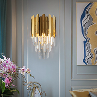 Youlaike Modern Bedside Wall Sconce Lamp Luxury Golden Crystal Wall Light Fixtures Bedside Living Room LED Wall Lamp Bedroom