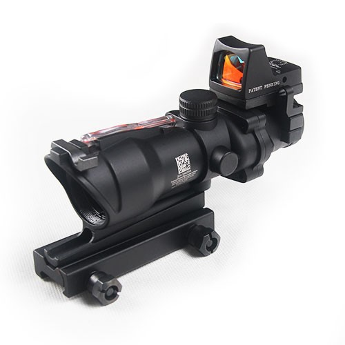 Trijicon ACOG 4x32 Cross Sight Scope Real Fiber + Mini Red Dot Riflescope