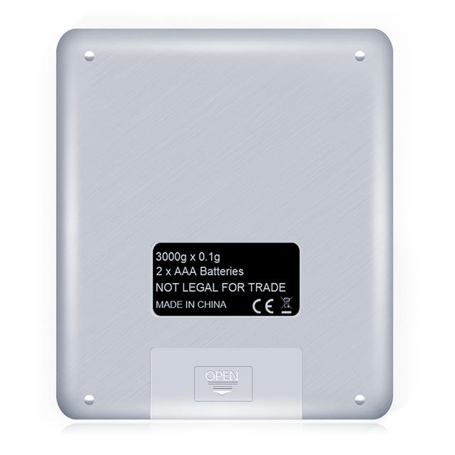 Digital kitchen scale mini pocket stainless steel (3000gx0.1g)