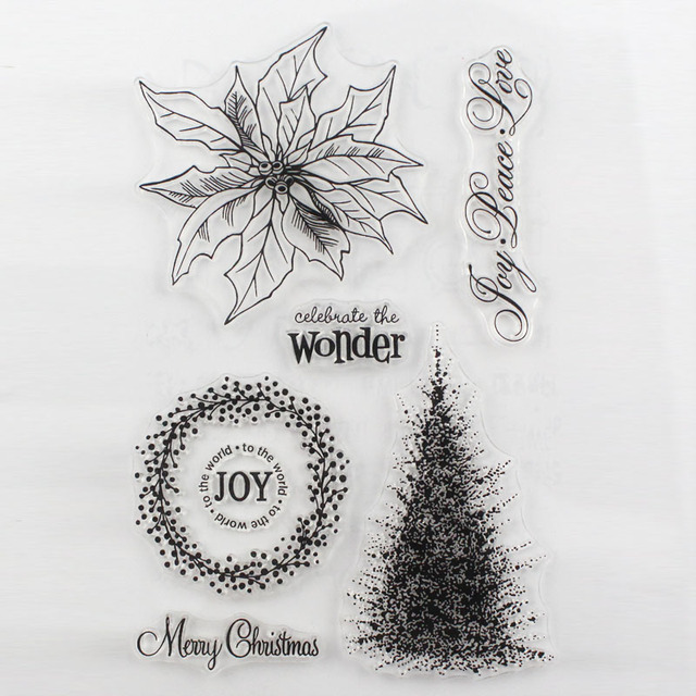 Ccinee 1pcs Clear Rubber Stamp Christmas Tree Design Transparent