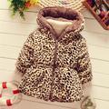 2017 теплый девочка зимняя куртка для девочки куртка с мехом малышей верхняя одежда пальто детской одежды девушки толстые леопард
