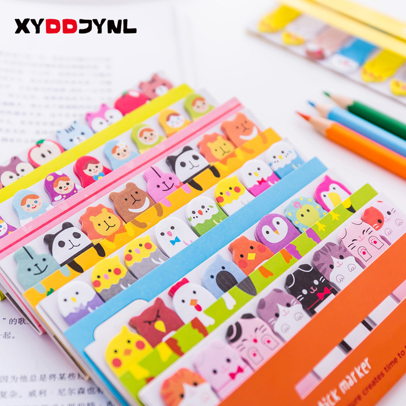 1pcs Kawaii Stationery Memo Pad Bookmarks Creative Cute Animal Sticky Notes School Supplies Paper Stickers(China)