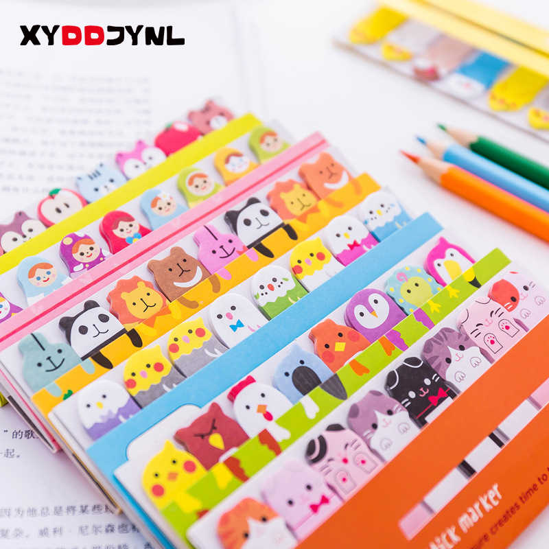 1 pcs Kawaii Papelaria Memo Pad Sticky Notes Bookmarks Criativo Animal Bonito Material Escolar Papel Adesivos