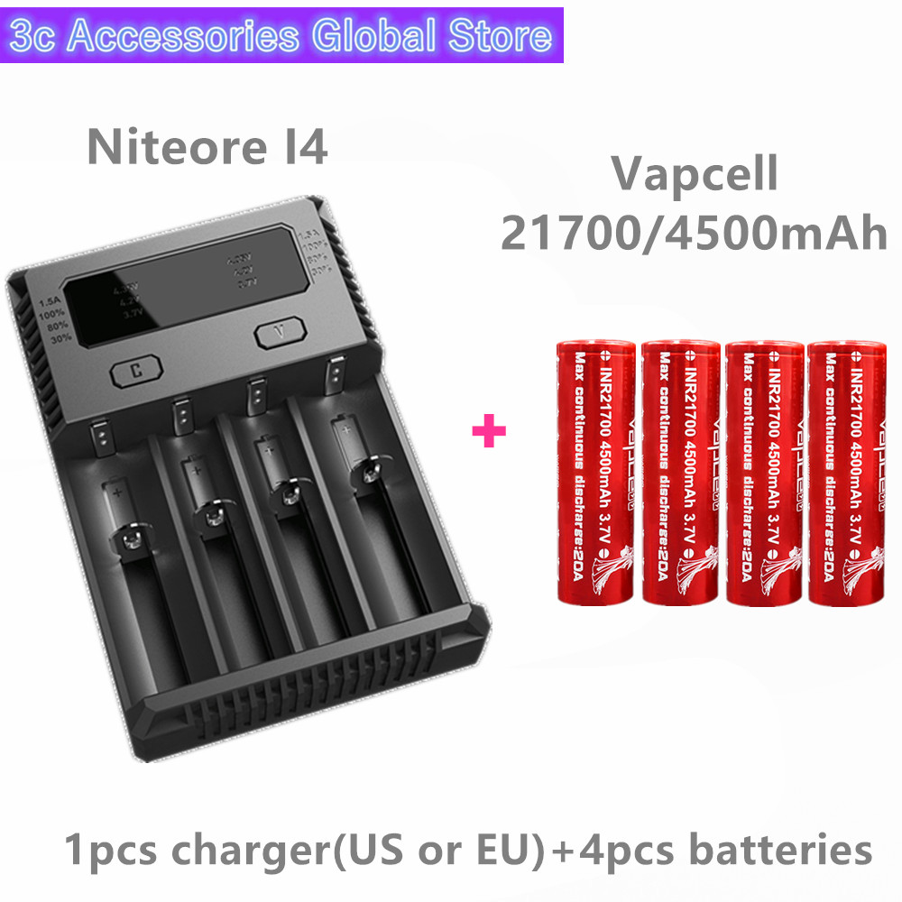 Vapcell 4 pièces INR 21700 4500 mAh 20A li-ion batterie rechargeable avec Nitecore nouveau I4 Digi chargeur LCD Intelligent pour fumée E-CIG
