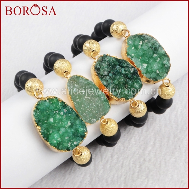 Borosa Green Druzy Bracelet Natural Crystal Beads Geode Bangle Gold Bracelets