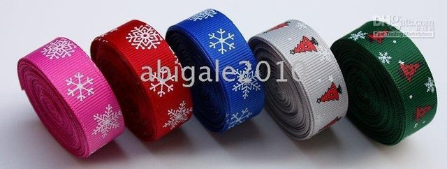 "Free shipping 20Yd 5/8"" Christmas tree Snowflake Grosgrain Ribbon 5 color new wholesale /retail"