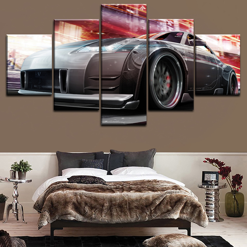 5 Pieces Nissa Tuning Car Poster Modern Home Wall Decorative Canvas Modular Picture Art HD Print Painting On Canvas Artworks