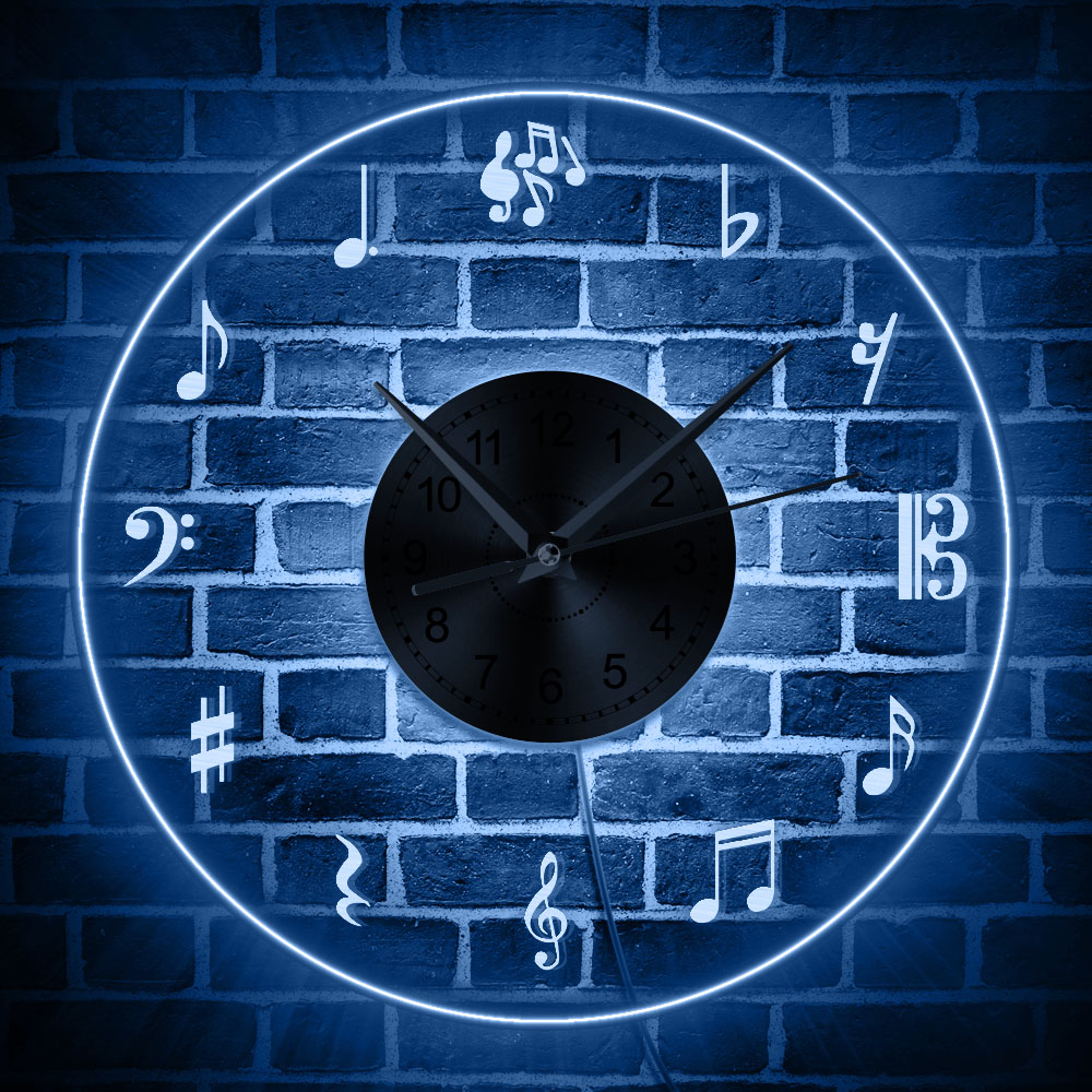 Us 25 49 15 Off Music Notes Wall Art Led Lighting Decor Modern Design Clock With Backlight Treble Clef Lighted Sign Lover In