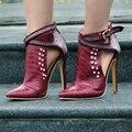 Nuevos Refrescan Mujeres Bombas de Punta estrecha Sexy Tacones Delgados Bombas de Alta Calidad Negro Vino Rojo Zapatos de Mujer Más El Tamaño EE.UU. 4-15