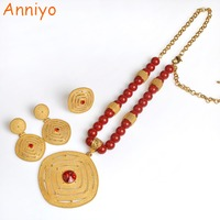 Anniyo Latest Ethiopian Red Bead Necklace Earrings Ring For Women African Rosary Chain Jewelry Eritrea Wedding