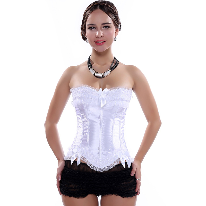Victorian Lace White   Corsets   And   Bustiers   Sexy Wedding   Corset   Top Women Corsage Bridal Gothic Lingerie Corpetes E Espartilhos
