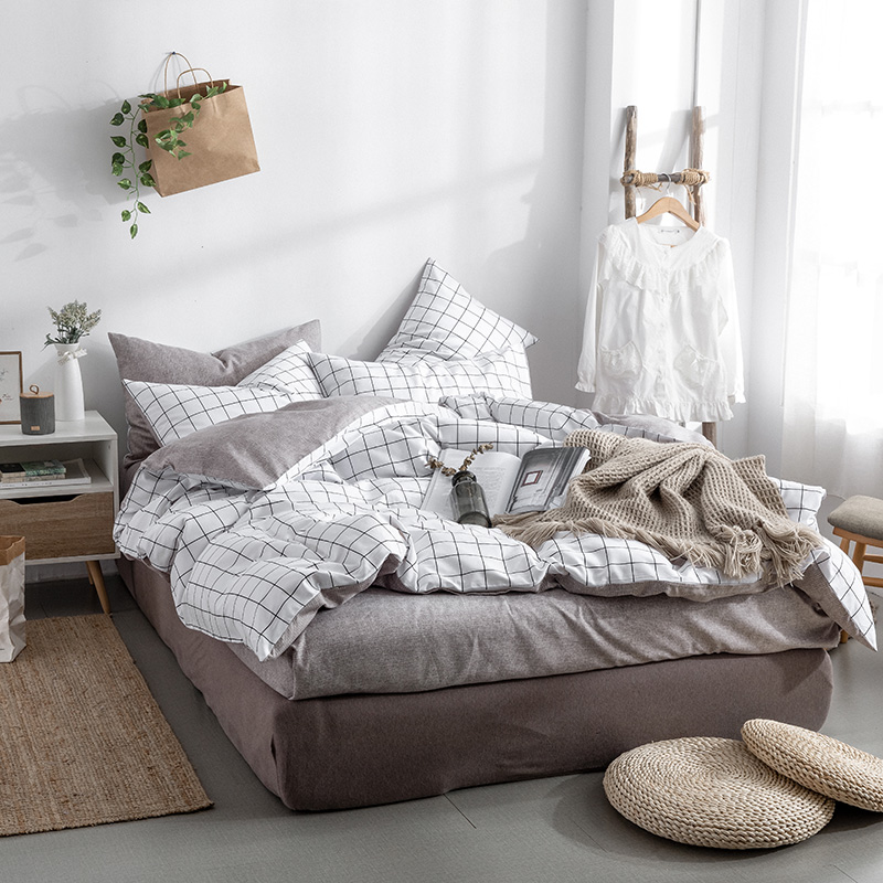 2019 New Product 100 Cotton Washed cotton printed bedding sets of duvet covers bedding flat pillowcase