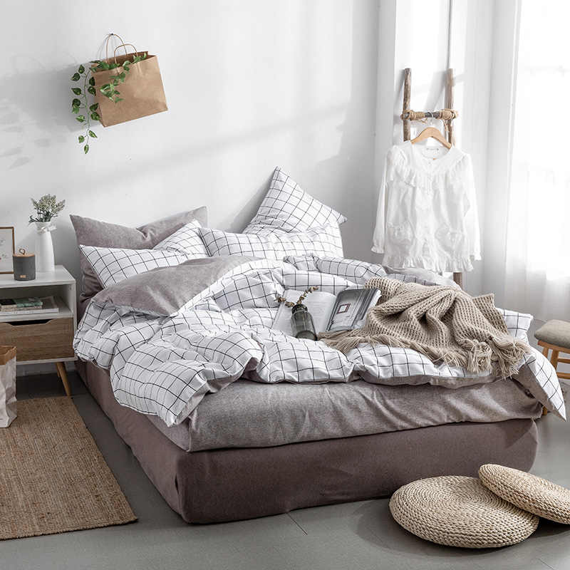 2019 New Product 100% Cotton Washed cotton printed bedding sets of duvet covers bedding flat pillowcase(fitted sheet style)