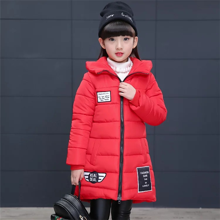 Winter Jacket Girl Parkas for Child Long Fund Thickening Pattern Hat Parka Cotton-padded Clothes Even Children Cotton Down Coats down winter jacket for girls thickening long coats big children s clothing 2017 girl s jacket outwear 5 14 year