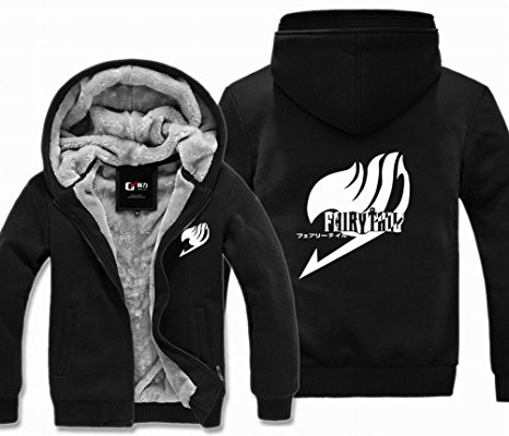 Hot Anime Fairy Tail Hoodie Thickness Warm Coat Jacket Fashion Adult Men Women Winter Zipper Hooded Sweatshirt Hoodie