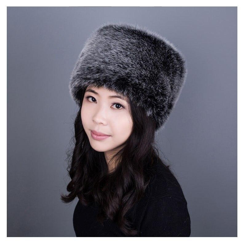 196ba084d US $12.25 30% OFF Women winter Faux Fox Fur Hat Men warm flat Skullies caps  thicken imitation fashion snow beanie Cossack multicolor hat FY17-in ...