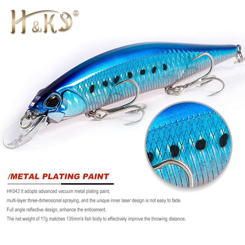 2018 H & K nuevo modelo caliente Señuelos de Pesca 135mm 17g de peso fijo sistema cebo duro calidad Wobblers Minnow pesca herramientas HK043