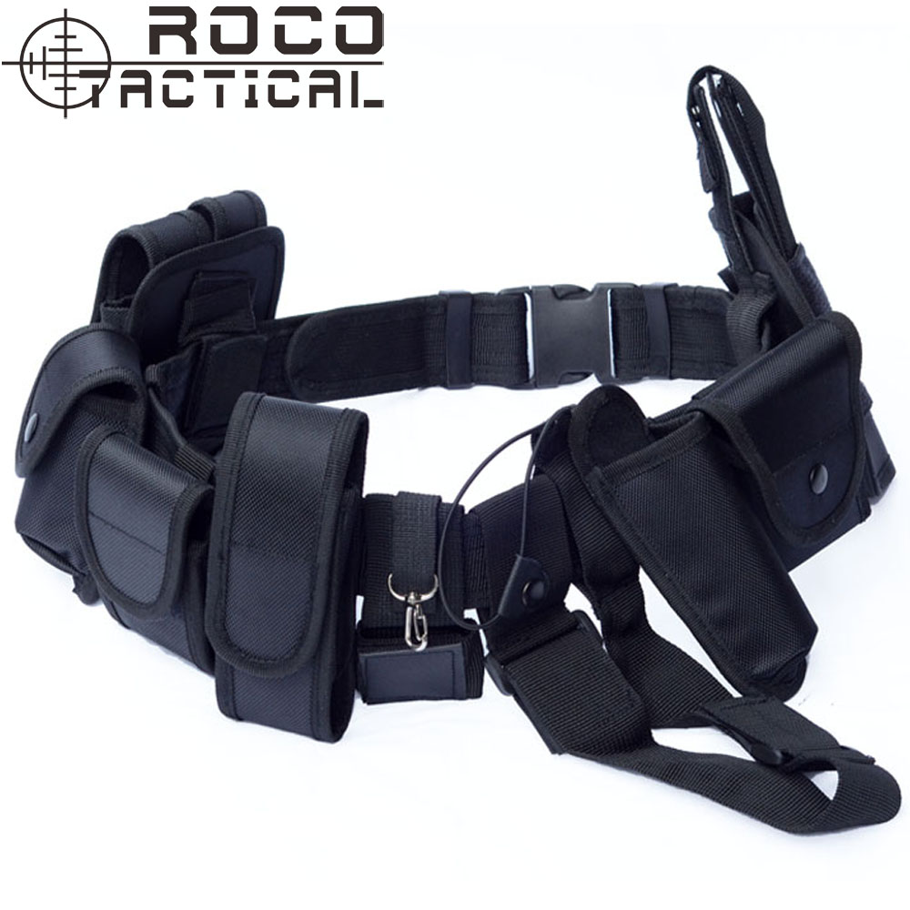 ФОТО 10 in 1 Police Duty Belt Multifunctional Traffic Patrol Belt With Pistol Holster Mag Pouch EMS Security Tactical Belt Black