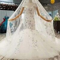 LS087841 elegant mermaid wedding gown with long lace veil o neck cap sleeves trumpet wedding dress among 2018 best seller list