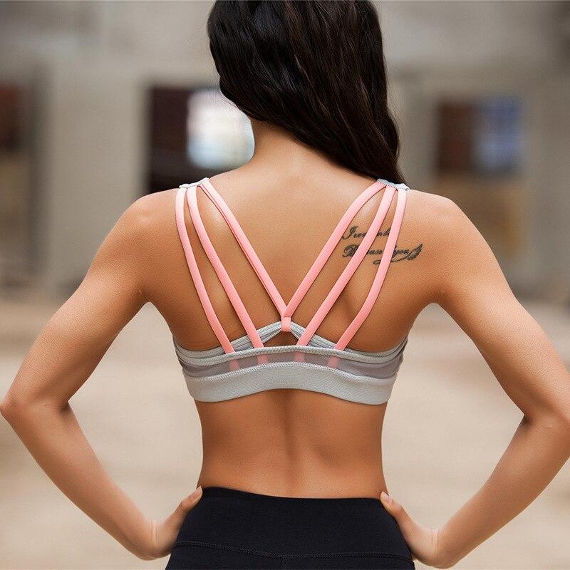 Prix pour Sirène Courbe De Yoga Tops Gilet Femmes Sport Bras Maille Transparente Sexy Retour Croix Push Up Soutien-Gorge Rembourré Gym Réservoir de Remise En Forme Tops
