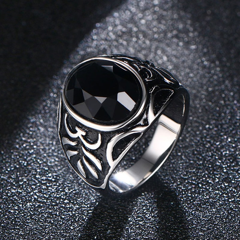 Mens Rings Stainless Steel Black Natural Stone Finger Ring Vintage Turkish Punk Jewelry in Silver-color bague homme bijoux aneis