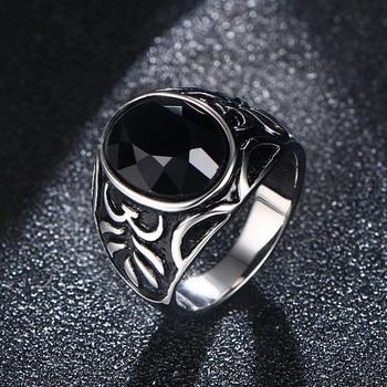 432f2225bc2d Anillos de acero inoxidable negro Natural anillo de dedo de piedra turco  Vintage Punk joyas en plata color bague hombre bijoux comentado