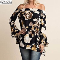S 5XL ZANZEA Summer Womens Floral Print Slash Neck Bardot Ruffle Bell Butterfly Long Sleeve Blouses
