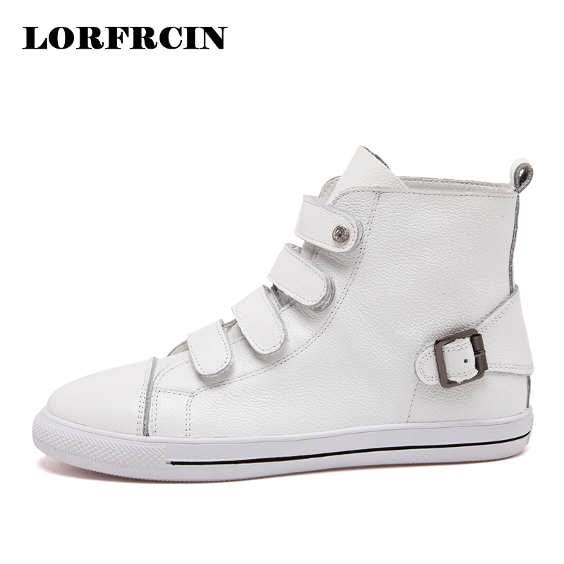 37bd998cb2c6 LORFRCIN Women s Sneakers Genuine Cow Leather High Top Ankle Boots For Women  Flats White Black Casual