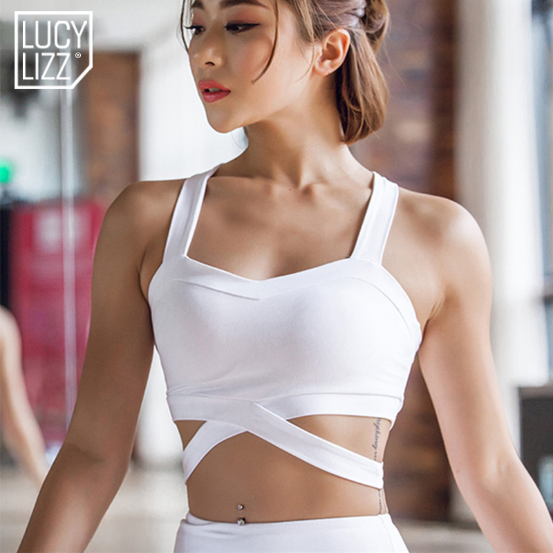 4968aacc4d5c8 Lucylizz Sexy Shake proof Yoga Bra Hollow Out Women Push up Sports Bra  Workout Gym Bra Running Underwear Fitness Vest Crop Top-in Sports Bras from  Sports ...