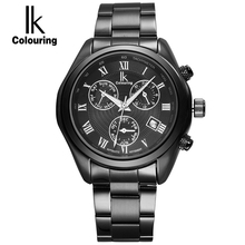 IK Roman Number Scale Automatic Self Wind Multifunction 3Sub Dial Hours Week Month Luminous Calender Hollow Back Steel Men Watch