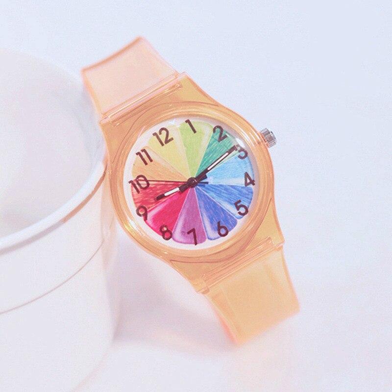 Children's Quartz Watches Fashion Color Dial Silicone Transparent Strap Students Wrist watch Girls Boy Clock Relogio Feminino fashion sporty silicone quartz wrist watch yellow transparent 1 x 377