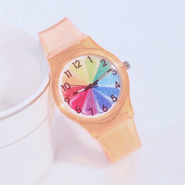 Children's Quartz Watches Fashion Color Dial Silicone Transparent Strap Students