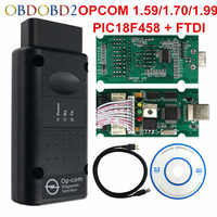 2018 OPCOM 1.99 1.70 1.59 Car Diagnostic Cable OP-COM OBD2 FTDI Chip Para Opel Carro OBD Scanner Com PIC18F458 2 interface OBD II