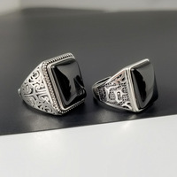 Guaranteed 925 Sterling Silver Black Rings Retro Vintage Flowers Ring Jewellery For Men With Stone Jewelry