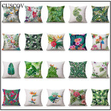CUSCOV tropical rainforest plant polyester sofa cushion cover leaf geometry wedding decoration pillow case chair