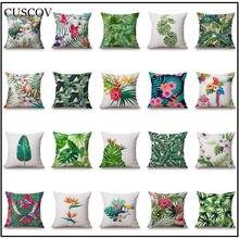 Cuscov Tropical Rainforest Plant Polyester Sofa Cushion Cover Leaf Geometry Wedding Decoration Pillow Case Chair