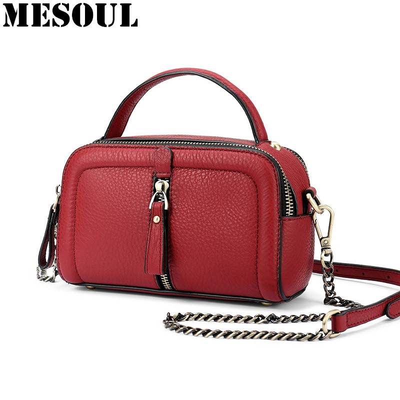 MESOUL Chain Bag Women Genuine Leather Shoulder Bags Vintage Party Evening Bag Handbag Crossbody Small Mini Flap Bag Ladies Tote