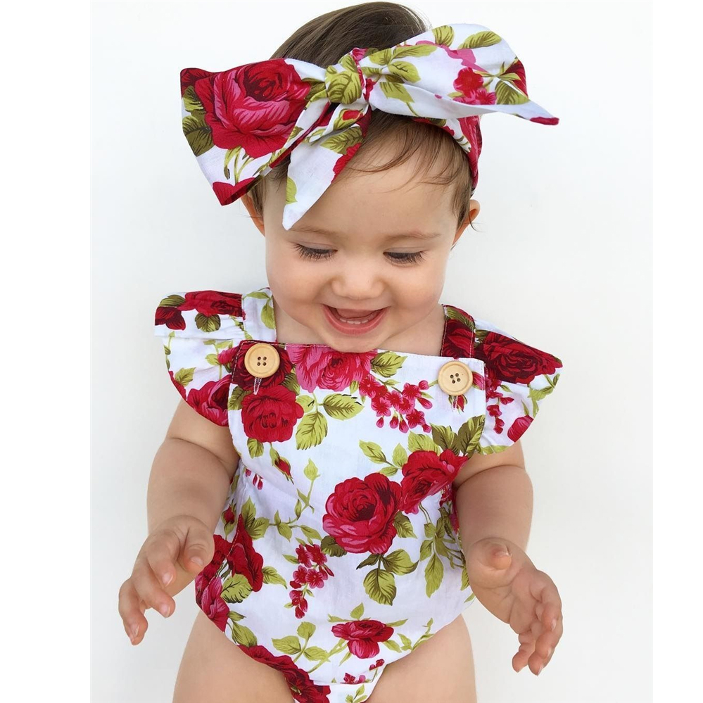 Oklady 2019 Floral Newborn Baby Girl Clothes Ruffles Sleeve Bodysuit +Headband 2pcs Outfit Bebek Giyim Sunsuit 0-24M  ClearanceOklady 2019 Floral Newborn Baby Girl Clothes Ruffles Sleeve Bodysuit +Headband 2pcs Outfit Bebek Giyim Sunsuit 0-24M  Clearance