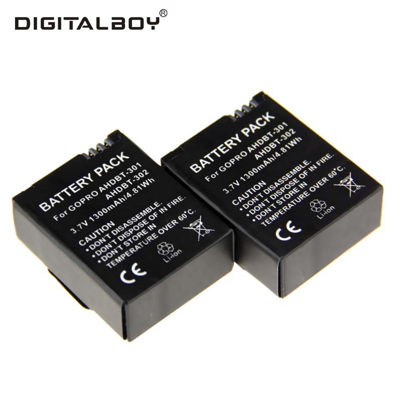 2PCS Gopro Hero 3 AHDBT-301 AHDBT 301 AHDBT301 AHDBT-302 AHDBT 302 1300mAh Camera Battery For Go PrO GoPro Hero3 аккумулятор для фотокамеры brand new hero3 akku 1600mah ahdbt 301 302 hero3 dual usb gopro pro hd 3 3 ahdbt 301 02