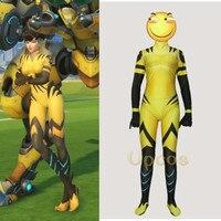 Haloween Dva Cosplay Game OW Dva Suit Zentai yellow spandex Costume
