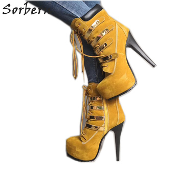 Sorbern Brown Short Boots Women Stage Dance Boots Autumn Ankle Boots Custom Big Size Womens High Heel Boots Ankle Lace Up