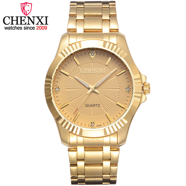CHENXI Brand Classic Delicate Rhinestone Couple Lover Watches Fashion Luxury Gol