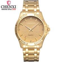 CHENXI Марка Классический Нежный Горный Хрусталь пару любовника часы, модные роскошные золотые Нержавеющаясталь Для мужчин и Для женщин часы Orologi Coppia