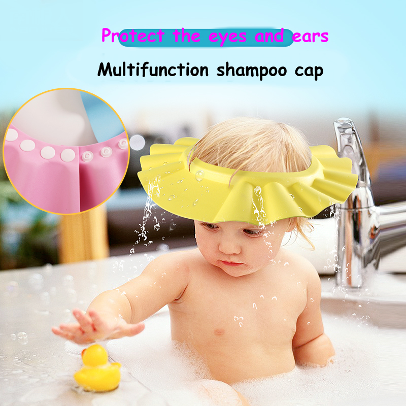 1 PCS/ LOT Kids Shampoo Bath Cap High Quality Baby Kid Adjustable Soft Shower Cap Hat Protect baby from Shampoo Water for Baby