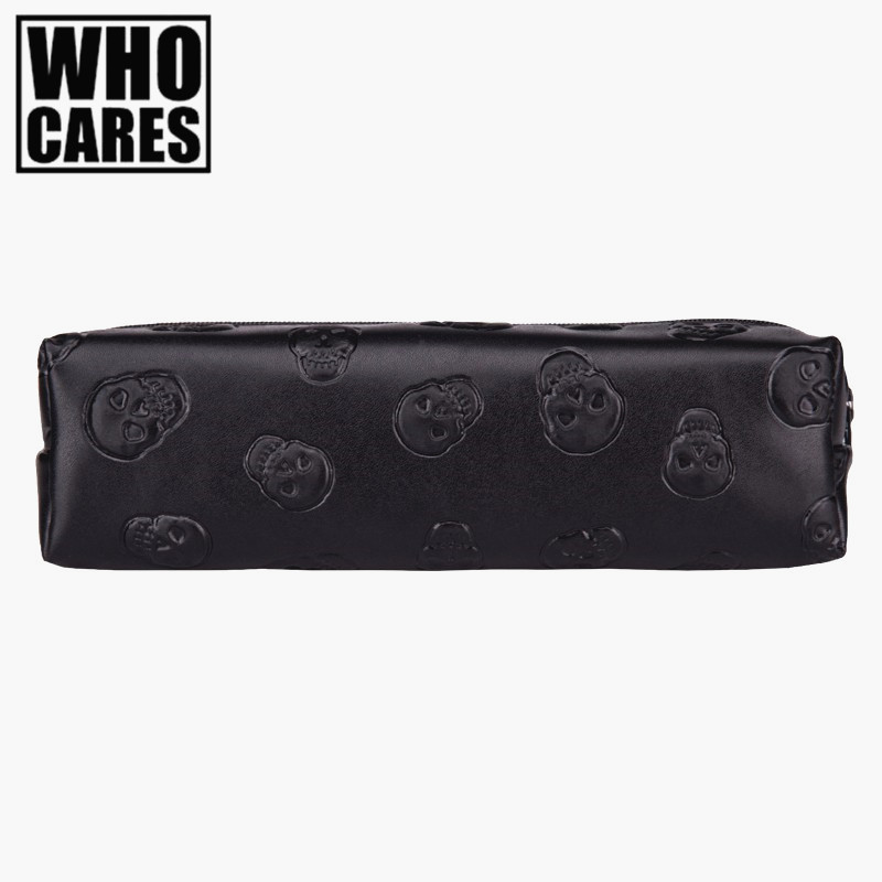 Skull black Leather makeup bag purse organizer travel 2016 Fashion pouch bolsos PU cosmetic bag pencil case maleta de maquiagem cartoon cosmetics bag pokemon go gravity purse bag received wallet makeup pencil pen case bag zelda pokemon ball purse bag wt004